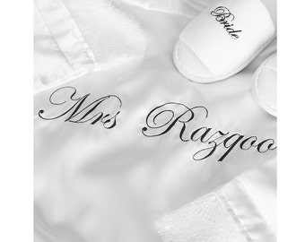 Mrs Surname Satin Robe (3 colors available)