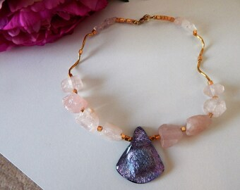 Rose Quartz Fused Glass Necklace