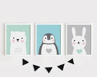 Printable Nursery Art Set of 3 Poster Baby room Wall art Kids room decor Mint Gray Pink Bear Rabbit Penguin animals Print 8x10/ 30x40