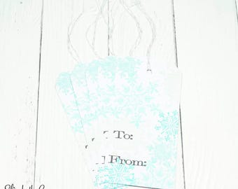 Christmas Gift Tags, Elegant Christmas Gift Tags, Snowflakes Christmas Gift Tag, Christmas Gift Tag Set, Handmade Gift Tag Set, Hand Stamped
