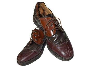 Mens shoes oxfords / Vintage Men Wingtips / Genuine Leather Shoes /Brown Shoes / Real Leather Shoes