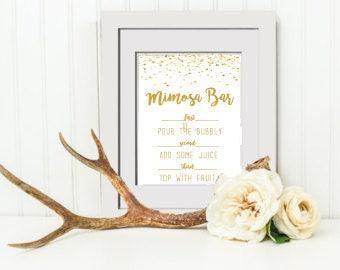 INSTANT DOWNLOAD Bridal Shower Mimosa Bar Sign, Wedding Sign, Wedding Guestbook Sign, Floral Bridal Shower Mimosa Bar Sign