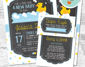 Rubber Duck Baby Shower Invitation, Rubber Duck Invitation, Blue, Yellow, Flags, Polka Dots, Chalkboard | DIY