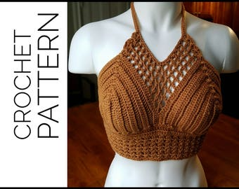 Crochet Crop Top/ Crochet Crop Top Pattern, Crochet Pattern, Bralette Pattern, Crochet Cropped Top, Crochet Festival Top, Bralette Pattern