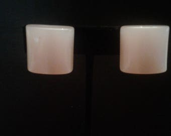 Pink Moonglow Lucite Chunky Geometric Clip On Earrings