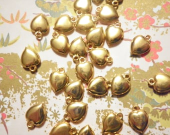 14 Goldplated 8mm Heart Charms