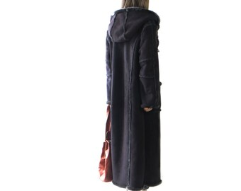 FAUX FUR Suede Coat// free size/faux fur collar hood,Jacket Black // maxi// long//m//medium/ Large///hippie//boho