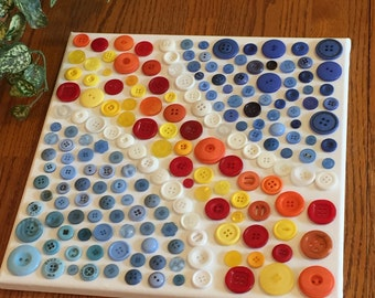 Button art - Canvas button art - Buttons on canvas - Button wall art - Button craft - Abstract button art - contemporary art - gift idea