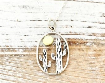 Cactus necklace, desert jewelry with bronze sun, sterling silver southwestern unique gift for her, cacti jewelry for hiker