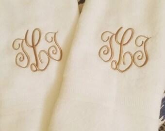 White Monogrammed Bathroom Hand Towel Set