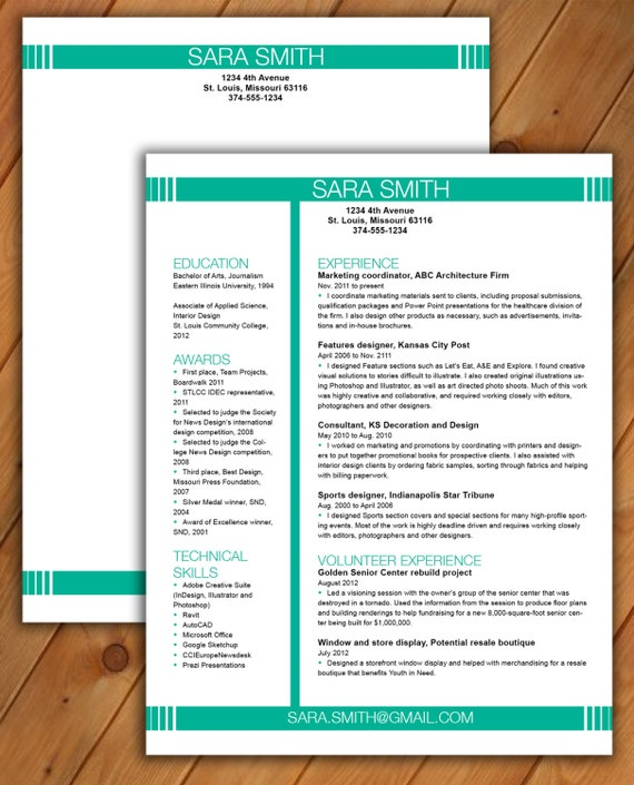 resume and cover letter template cv template word document instant download