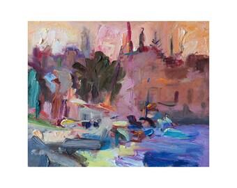 Giclee Fine Art Print - Soft Sunrise - Original Plein Air Oil Painting Abstract Prints Colourful Seascape Paintings Landscape Sky Sea Town