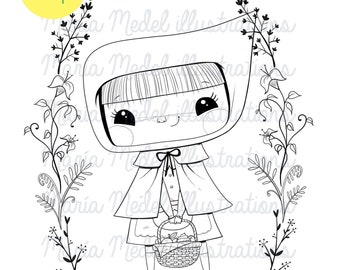 Little Red Riding Hood- DIGITAL STAMP for scrapbooking, cardmaking