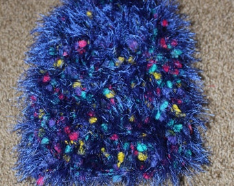 Hand-knit chemo cap- pink, turquoise and yellow with blue eyelash yarn