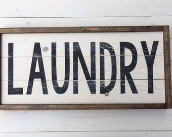 Ready to Ship | Farmhouse Laundry Room | Farmhouse Wall Decor | LAUNDRY Sign | Simple Wood Sign | Rustic Laundry Room Decor | Laundry