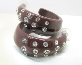 Vintage Brown Lucite Rhinestone Hoop Earrings