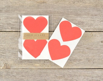 Large Red Heart Stickers / Heart Favors - 12 pc