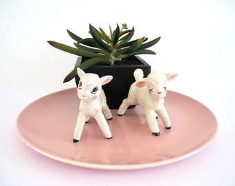 Vintage Cute Lamb Salt and Pepper Shakers Anthropomorphic S&P Sheep Easter Decor Spring Kitsch Big Eyes Ceramic Relco Japan