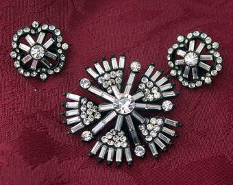 Pretty Black Enamel and Crystal Baguette and Chaton Rhinestone Brooch and Clip-On Earring Demi