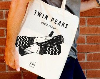 Tote bag  Homenaje a Twin Peaks - Agente Cooper - Ask my Log - David Lynch tronco log lady laura palmer