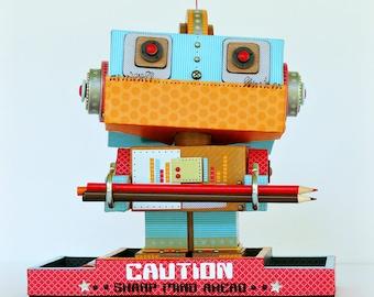 Robot Desk Organizer, Office Decor, Back to School.