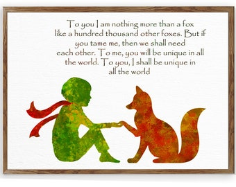 Le Petit Prince Fox Quote The little Prince Fox little Prince Art Giclee Print Wall Decor Prince Room Decor Baby Room Baby Shower Gift