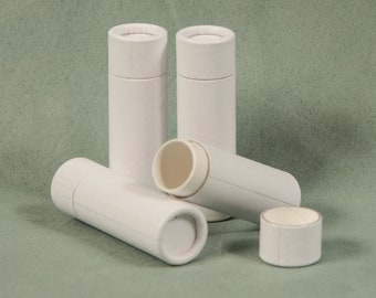 10 White Paper Lip Balm Tubes - Eco Friendly & Sustainable - 1/3 oz
