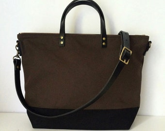 UTILITY TOTE | Diaper Bag | Laptop | Waxed Canvas Leather | Zipper Top | 4 Pockets | Crossbody Strap | Brown and Black | Made to Order