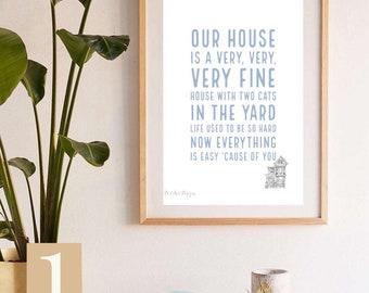 Crosby, Stills & Nash Inspired- Our House Lyrics Print. Home Decor Gift