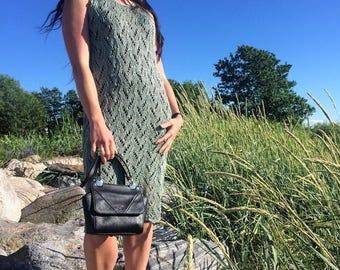 Olive summer dress. Lace dress. Knitted dress