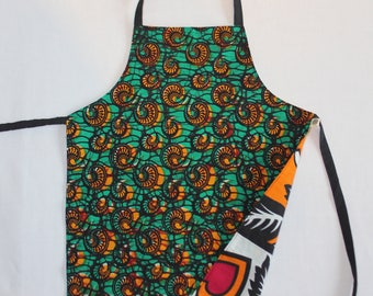 Reversible Child Apron, East-meets-West - Orange Snails and Orange Red Hearts, Small Kids Apron
