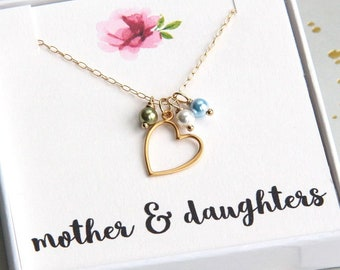 Mother Gift, Mothers Day Gift, Mom Birthstone Necklace, Mom Necklace, Mothers Necklace, Gold Heart Necklace, Mothers Jewelry, Mommy Necklace