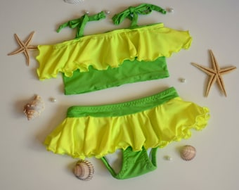 Baby girl bikini/Baby girl ruffled bikini set/Baby swimsuits/Toddler bikinis/Children swimwear/Girls bathing suit/Kids swimwear/Baby bikinis