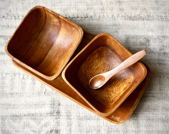 Vintage Hand Carved Monkey Pod Serving Set-Tray, 2 Bowls and Spoon