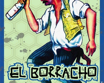 EL BORRACHO / The drunk.  Mexican loteria inspired magnet