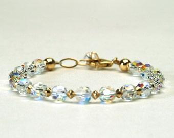 Crystal AB Bracelet - Aurora Borealis Swarovski Crystal Bracelet with Sterling Silver or Gold Filled  Components - Handmade Bridal Jewelry
