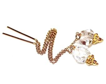 Simple Earrings Herkimer Diamond Earrings Herkimer Quartz Earrings Gold Filled Ear Thread Everyday Jewelry Long Earrings Quartz Jewelry