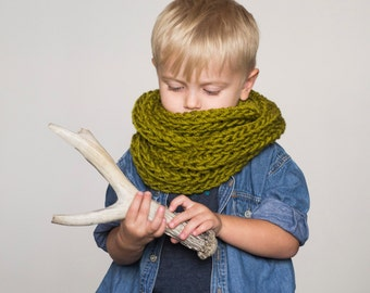Children's chunky infinity scarf // green neckwarmer, olive green scarf, textured cowl, chunky kids hood, children's scarf, onward onward