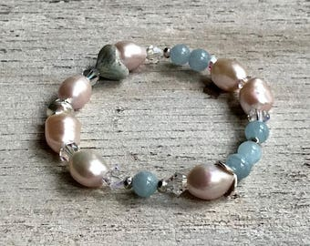 Pink Pearl Aquamarine Sterling Silver Bohochic Beaded  Bracelet,  for Her Under 170, OOAK, Free US Shipping