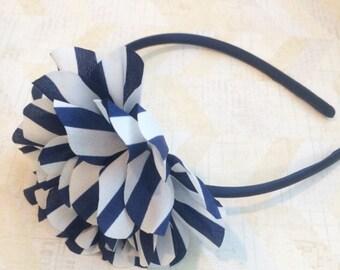 Nave striped hard headband,navy plastic headband,girls headbands,striped headband,flowergirl headbands,big headbands