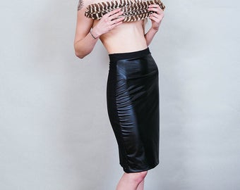 Ambitious - Vegan faux leather knee length pencil skirt