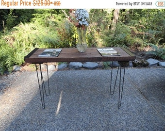 Limited Time Sale 10% OFF Authentic Industrial Sofa Table from old barnwood with hairpin legs