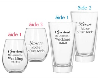 I Survived my Daughters Wedding - Personalized Wine and Pilsner Gift Set for Brides Parents or Grooms Parents