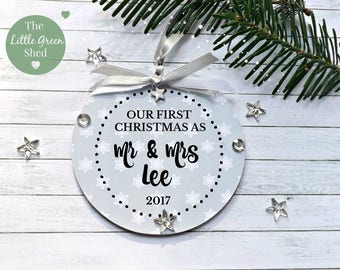 Our First Christmas Sign Bauble Xmas Sign Personalised Hanging Keepsake