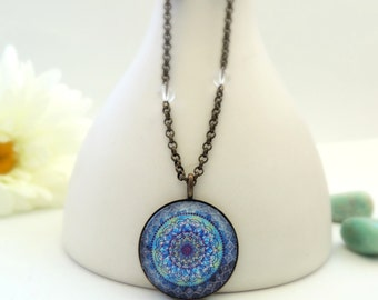 Healing Necklace Meaningful Necklace MOON MANDALA Necklace Meaningful Jewelry Healing Jewelry Mandala Jewelry Moon Necklace Mandala Art