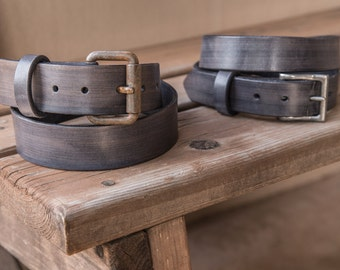Grey Leather Belts | Rust or Nickel Buckle | Handmade in the USA