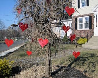 Valentine's Day / Heart Ornaments (set of 12) / Garden Art / Garden Decor / Home Decor / Hanging / Tree / Rust / Red / Gift / Idea / Wife