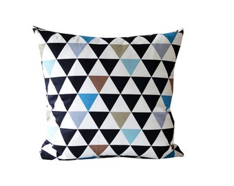 Black Blue Brown Triangle Decorative Pillow| Geometric Pillow| Black And White Cushion