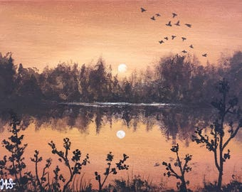 Sunset Painting, Paintings On Canvas, Original Painting, Acrylic Painting, Landscape Painting, Lake Orange Wall Art home decor box canvas