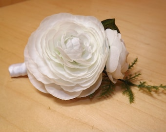 Boutonniere with ranunculus, springeri fern and ivy Perfect for a groom, groomsmen, Fathers, Grandfathers